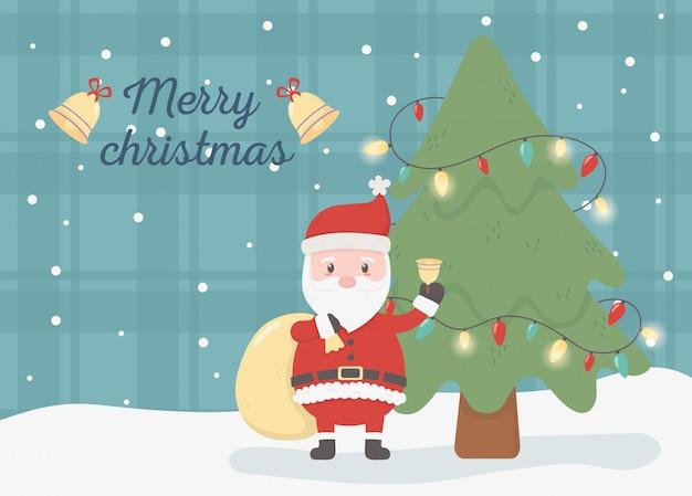 Kerstman met geschenk tas viering gelukkig kerstkaart