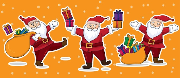 Kerstman met geschenkdoos illustratie.