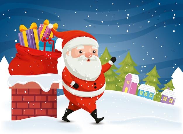 Kerstman met geschenkdozen in winters tafereel