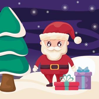 Kerstman met geschenkdozen op winterlandschap
