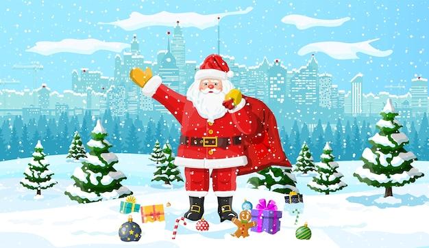 Kerstman met geschenken dennenboom en sneeuw