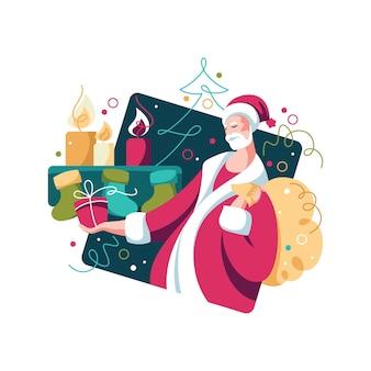 Kerstman met geschenken en kerstboom. nieuwjaarsviering. helder kleurrijk