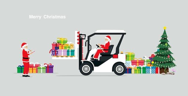 Kerstman met geschenken met behulp van een vorkheftruck