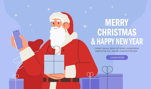 Kerstman met geschenken smartphone houden.