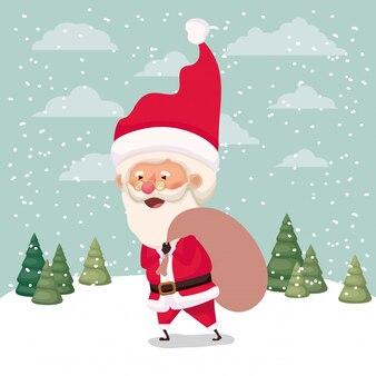 Kerstman met geschenken tas in snowscape