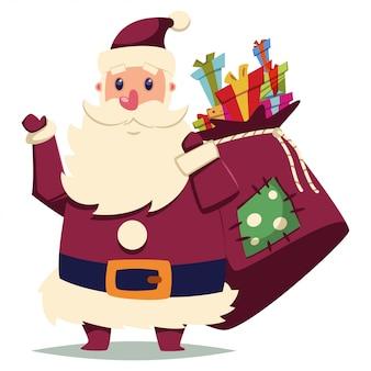 Kerstman met geschenken zak. vector cartoon kerst karakter geïsoleerd
