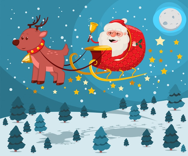 Kerstman met gouden bel in een slee met rendieren vliegen over nacht winterlandschap.