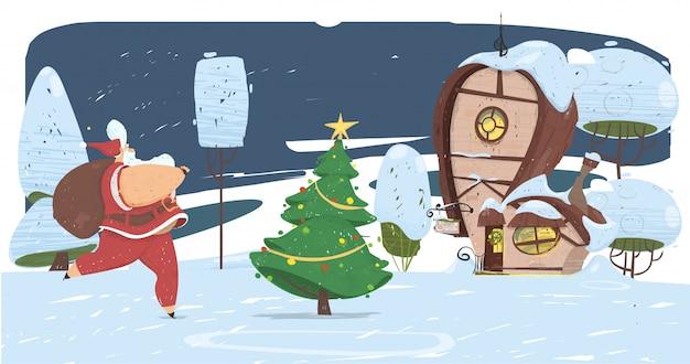 Kerstman met grote tas op rug komt naar huis