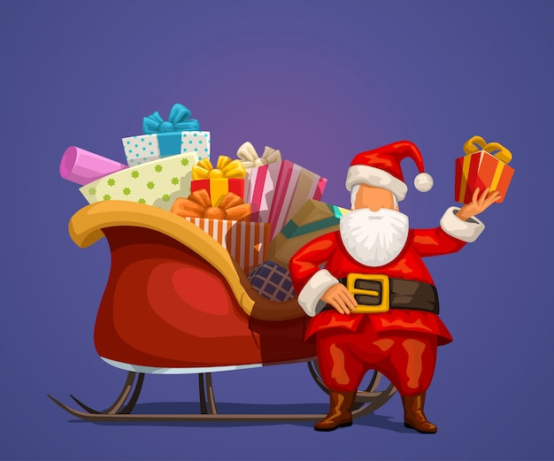 Kerstman met heden en slee