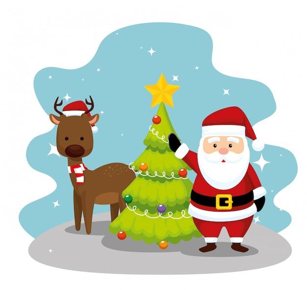 Kerstman met herten en dennenboom