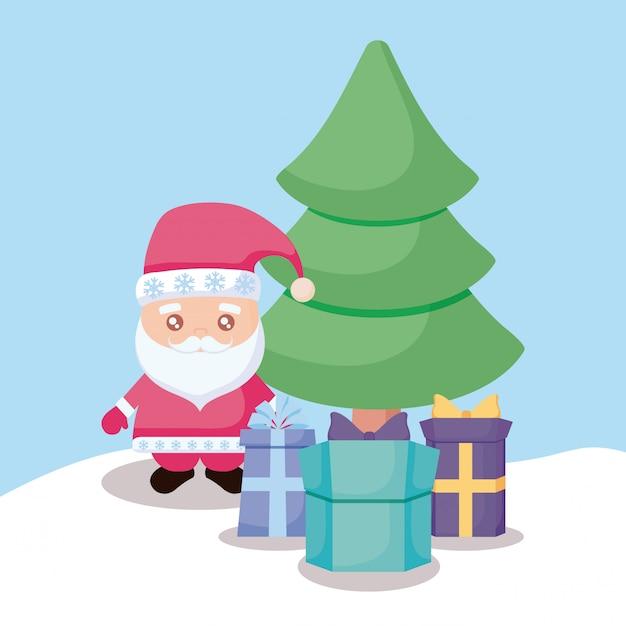 Kerstman met kerstboom en geschenkdozen