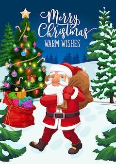 Kerstman met kerstcadeau tas en kerstboom wenskaart. claus die kerstcadeautjes levert, dennen met kerstbel, sterren en ballen, sneeuw, zuurstokken en kous, lichten en klatergoud