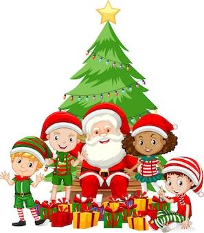 Kerstman met kinderen dragen stripfiguur van kerstkostuum