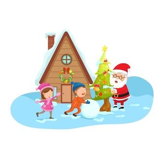 Kerstman met kinderen op een winterlandschap