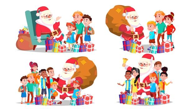 Kerstman met kinderen