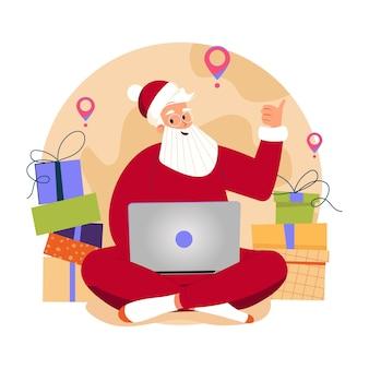 Kerstman met laptop die e-mails controleert kerstman gebruikt computer en schuurt cadeautjes over de hele wereld