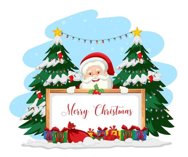 Kerstman met merry christmas-teken
