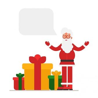 Kerstman met open armen geeft geschenken