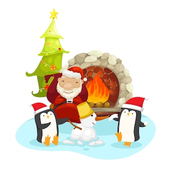 Kerstman met pinguïns op een winter