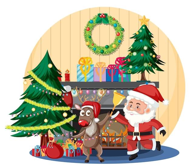 Kerstman met rendieren in ingerichte kamer