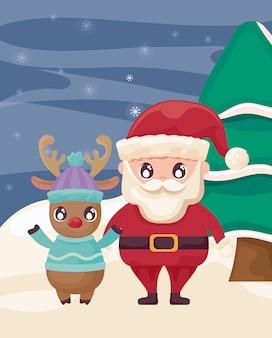 Kerstman met rendieren op winterlandschap