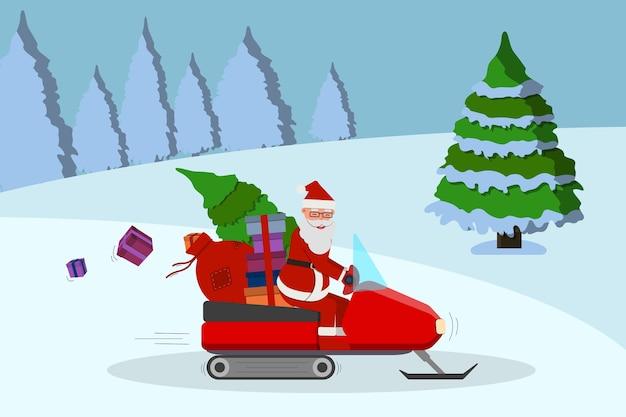 Kerstman met rode cadeauzakje op de sneeuwscooter in winter woud, schattige cartoon.