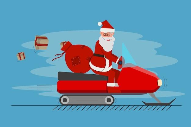 Kerstman met rode giftzak op de geïsoleerde sneeuwscooter, leuke cartoon.