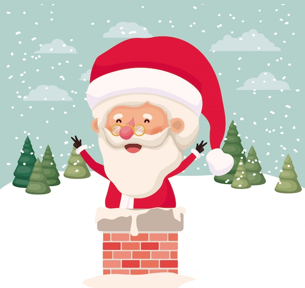 Kerstman met schoorsteen in snowscape