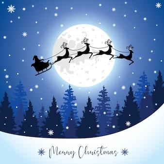 Kerstman met slee en rendieren silhouet op een grote volle maan in het dennenbos