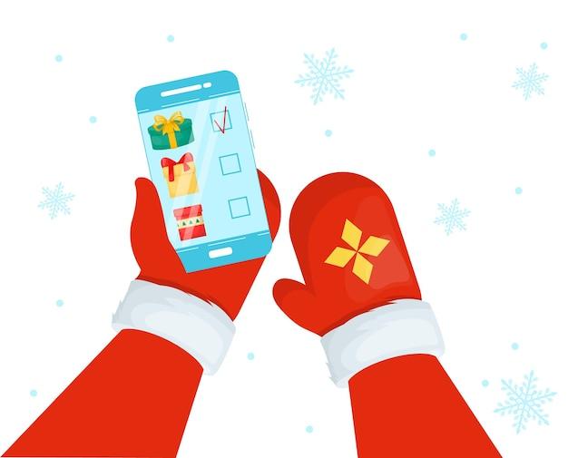 Kerstman met smartphone.