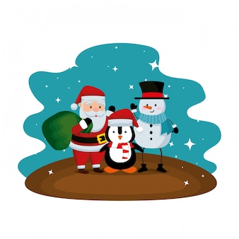 Kerstman met sneeuwpop en pinguïn