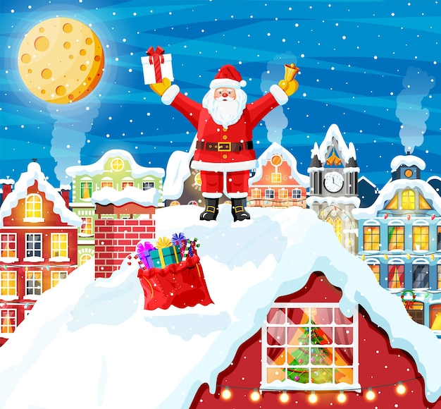 Kerstman met tas met geschenken op het dak van het huis. dennenboom in venster. gelukkig nieuwjaar decoratie. prettige kerstavond vakantie. nieuwjaar en kerstviering. vectorillustratie in vlakke stijl