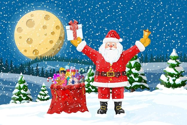Kerstman met tas met geschenken