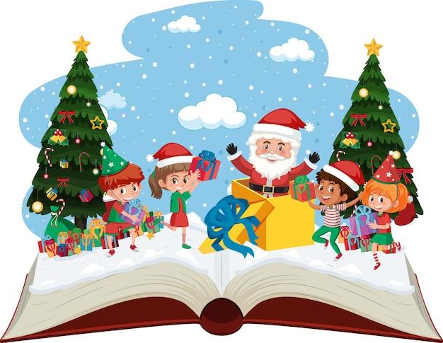 Kerstman met veel kinderen en geschenken op eerste kerstdag