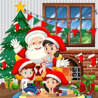 Kerstman met veel kinderen in kamerscène