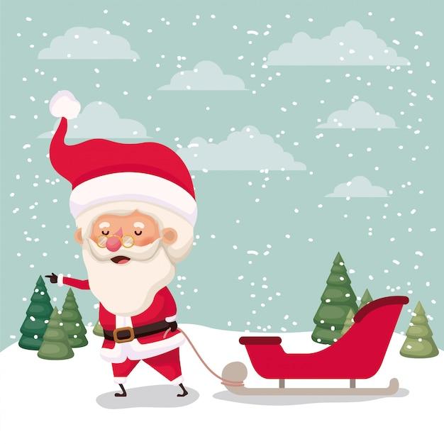 Kerstman met vervoer in snowscape