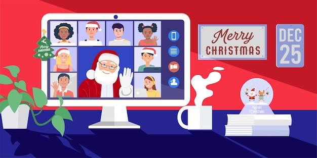 Kerstman met videoconferentie op computer met kinderen thuis.