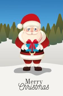 Kerstman met vrolijk kerstfeest belettering en geschenkdoos op een bos achtergrond