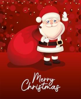 Kerstman met vrolijk kerstfeest belettering en tas op rode achtergrond illustratie