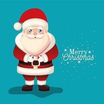 Kerstman met vrolijk kerstfeest belettering op blauwe achtergrond illustratie