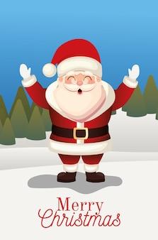 Kerstman met vrolijk kerstfeest belettering op een bos achtergrond illustratie