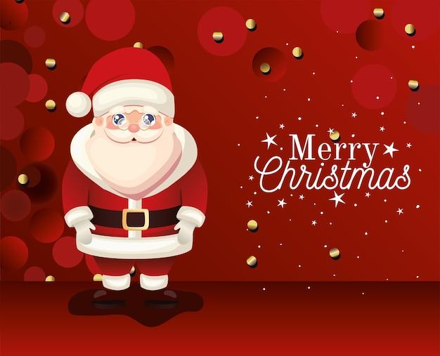 Kerstman met vrolijk kerstfeest belettering op rode achtergrond illustratie