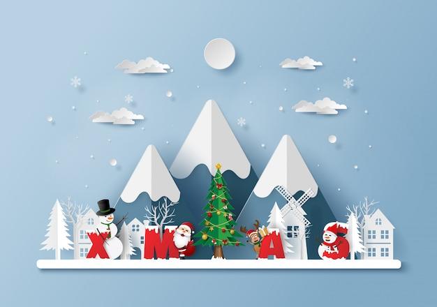 Kerstman met woord kerstmis in het dorp