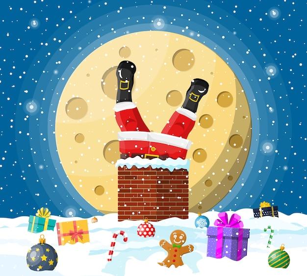 Kerstman met zak met geschenken geplakt in huis schoorsteen