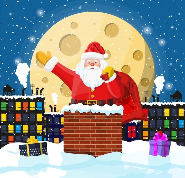 Kerstman met zak met geschenken in huis schoorsteen, geschenkdozen in sneeuw. gelukkig nieuwjaar decoratie. vrolijke kerstavond vakantie. nieuwjaar en kerstmisviering.
