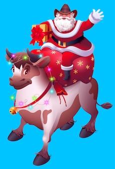 Kerstman met zak met geschenken rijdt stier. vrolijk kerstfeest 2021 jaar van koe naar chinese kalender.