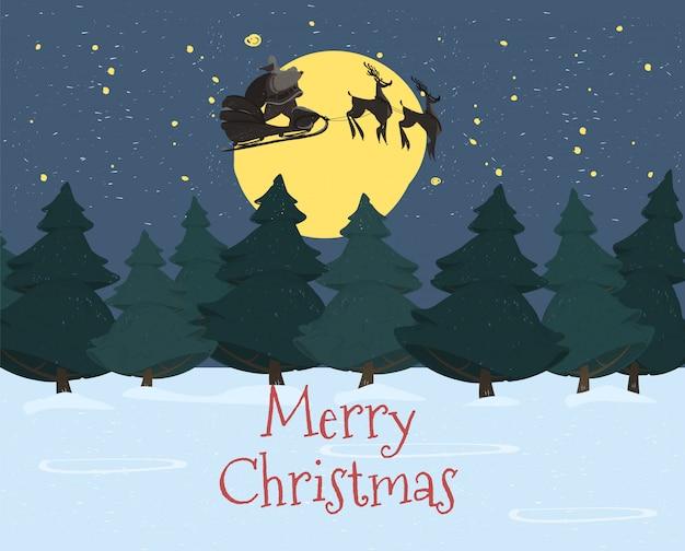 Kerstman met zak rijden herten slee in hemel
