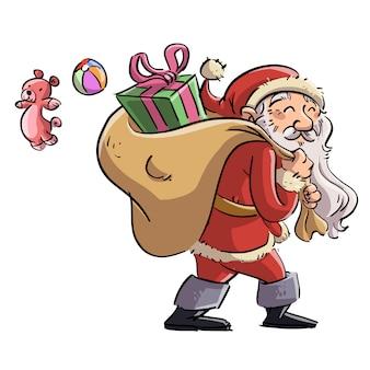 Kerstman met zak vol cadeautjes