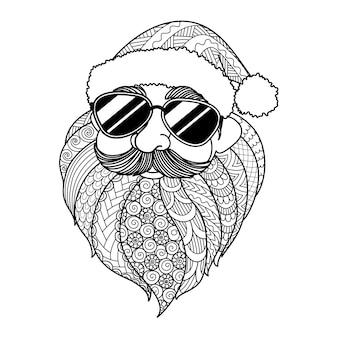 Kerstman met zonnebril, kerstmis in juli concept. vectorillustratie voor kleurplaat, gravure, laser gesneden of print op product.