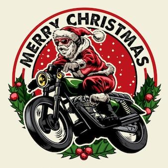 Kerstman motorfiets kenteken te rijden
